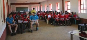 classroom in Swaziland with presentation