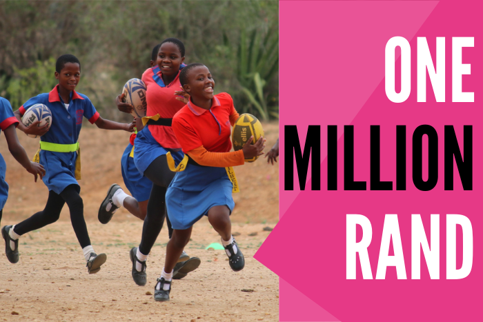 Image of girls playing rugby with text One Million Rand