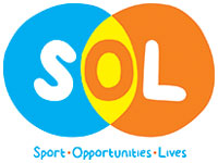 SOL logo blue yellow and orange